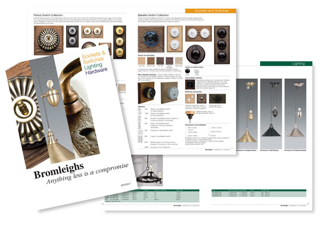 Product catalogues, Stationery, Advertising and Web site for Bromleighs